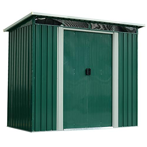 Outsunny 8ft x 4ft Roofed Metal Garden Shed House Hut Gardening Tool Storage 255L x 133W x 183-205Hcm