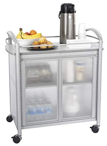 Safco Products Impromptu Refreshment Cart 8966GR, Gray, 200 lbs. Capacity, Double Doors, Swivel Wheels