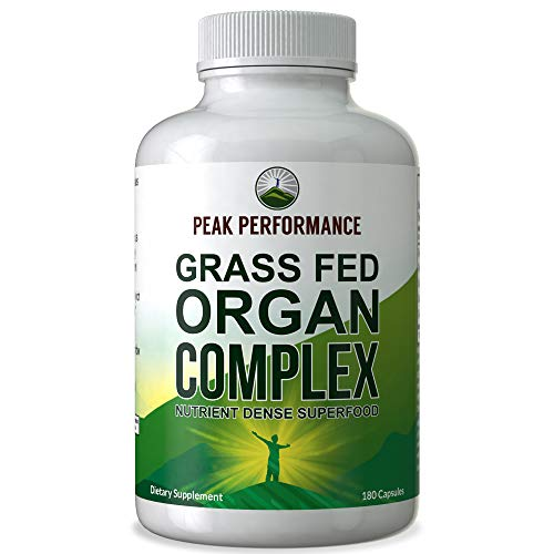 Grass Fed Beef Organ Complex (180 Capsules) by Peak Performance. Desiccated Organs Superfood Pills Rich in Antioxidants, Enzymes, Vitamin B12. Made from Liver, Heart, Kidney, Pancreas, Spleen