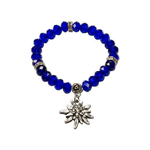Alpenflüstern Perlen-Trachten-Armband Fiona Crystal mit Strass-Edelweiß - Damen-Trachtenschmuck, elastische Trachten-Armkette, Perlenarmband blau DAB042