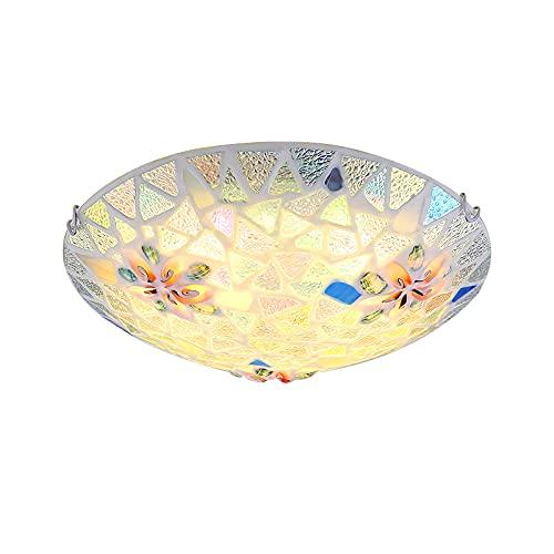 Retro Rund Deckenleuchte Tiffany Stil Deckenlampe Blume Kunst Glas Lampenschirm Flush Mount Decken Beleuchtung E27 Leuchte für Wohnzimmer Schlafzimmer Esszimmer Loft Korridor Flur,Ø40cm