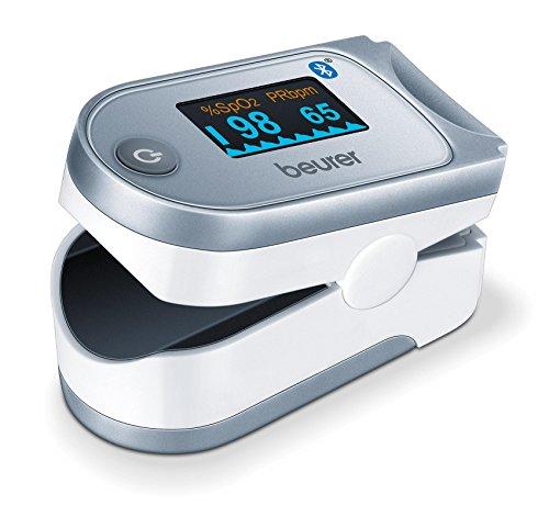 Beurer IPO61 BT Pulsioxímetro de dedo con Bluetooth, medidor de saturación de oxigeno en la sangre...