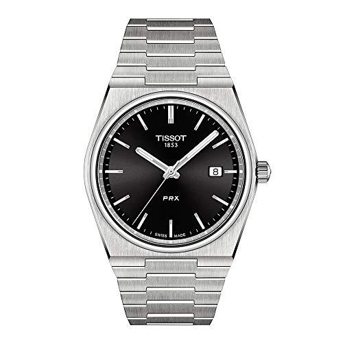Tissot Mens PRX 316L caja de acero inoxidable vestido reloj gris T1374101105100