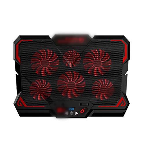 Aiglen Enfriador para computadora portátil para juegos de 17 pulgadas, pantalla LED de seis ventiladores, dos puertos USB, almohadilla de enfriamiento para computadora portátil, soporte para computado