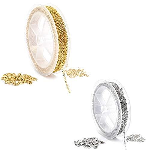 2 piezas de 33 pies chapado en oro para collar de cadena con 20 cierres de langosta y 50 anillos de salto para bricolaje..