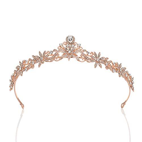 SWEETV Rose Gold Wedding Tiara for Bride & Flower Girls - Princess Tiara Headband Pageant Crown, Bridal Hair Accessories for Women