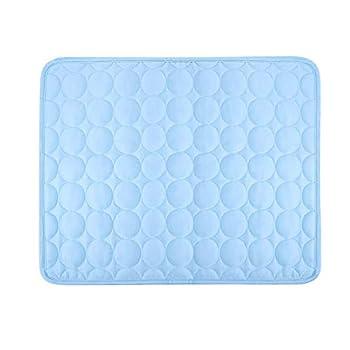 POPETPOP Tapis de Refroidissement pour Chien Matelas Coussin Refroidissement pour Animaux Domestiques Tapis Rafraîchissant de Chats pour Siège de Voiture 63 x 50 cm (Bleu)