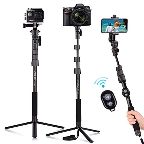 Andoer 54-inch Selfie Stick Extendable Tripod Stand Aluminum Alloy with Detachable Desktop Tripod Phone Holder Sports Camera Mount Adapter Remote Shutter Compatible with iPhone and Android Phones