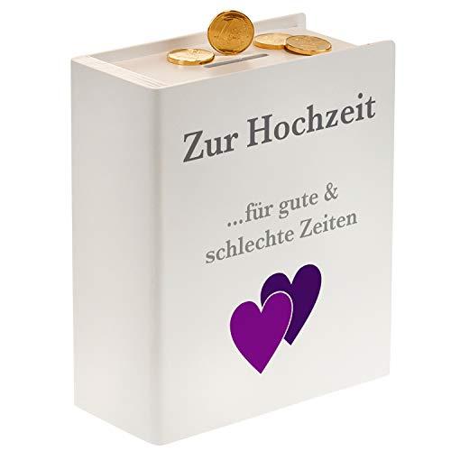 Sparbuch – Für Gute und schlechte Zeiten (weiß): bedrucktes Holz-Sparbuch zur Hochzeit – originelle Spardose als Geschenkverpackung für Geldgeschenke