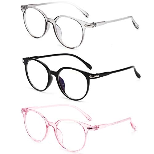 Blue Light Blocking Glasses Transparent Pink Frame Clear Lens Glasses Anti Eyestrain Glasses Gaming...