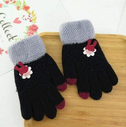 Children's Cartoon Thicken Thermal Gloves Kids Yarn Knitted Lovely Gloves boy and Girl Winter Warm Glove - (Color: Black)