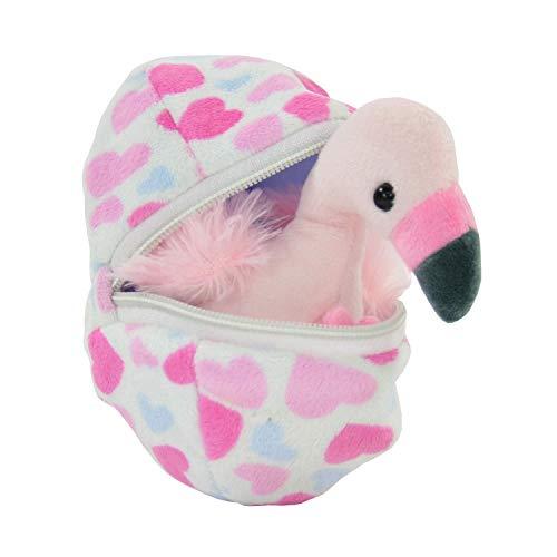Kögler 75764 - Felicitas, Mini Flamingo aus Plüsch im Ei, ca. 13 cm groß, kleines Plüschtier zum Kuscheln und Liebhaben, als kleines Geschenk für Kinder, Jungen und Mädchen