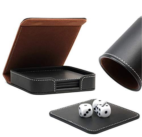 Broniks Würfelunterlage aus Kunstleder - 4er Set Inkl. Transport- und Aufbewahrungsetui im hochwertigen Schwarz-Braun Design (passend Würfelbecher- Set + V2 Schockbesteck)