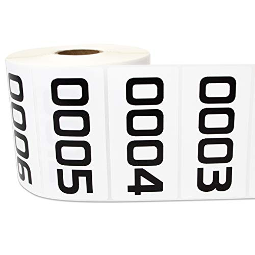 """1 Roll - Consecutive Number 0001 to 1000 Labels for Inventory Counting Warehouse Quality Control 3 x 1.5"""" White - 1000 Labels"""