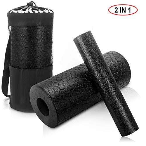 Adkwse 2-in-1 Foam Rollers with Storage Bags Extra Firm High Density Exercise Yoga Roller for Physical Therapy & Exercise, Back Stretching, Muscles Deep Tissue Massage