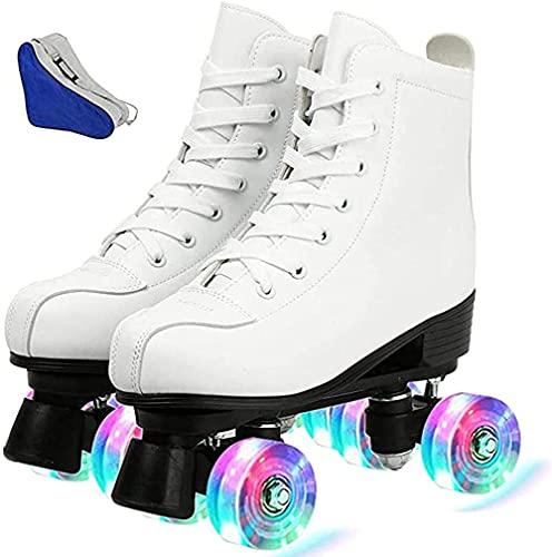 Damen Inline-Skates PU Leder High Top Roller Skates Vierrad Rollschuhe Glänzende Rollschuhe für Unisex Kinder und Erwachsene 42 24cm US: 9.5 Weiß + Blitz