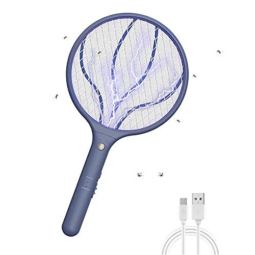 WUEAOA Racchetta Zanzare Elettrica, Racchetta Elettrica Insetti con USB Ricaricabile Insetto Elettrico Fly Swatter con Maglia a Triplo Strato e LED,Racchetta Antizanzare per Uso Esterno Interno,Blu