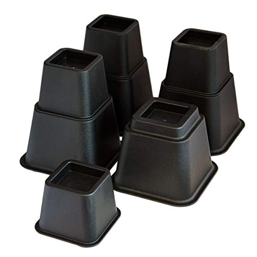 KCT 8 Piece Black Plastic Stackable Bed or Furniture Riser