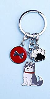 Key Chains - Lovely Alaska Husky Pendant Key Chain Dogs Keychains Pet Key Holder Metal Anime Keyring Jewelry Woman Bag Charm Gifts Wholesale - by NTNH12-1 PCs
