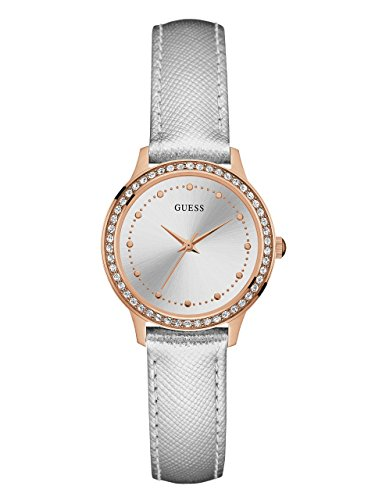 Guess Unisex Erwachsene Datum klassisch Quarz Uhr mit Leder Armband W0648L11