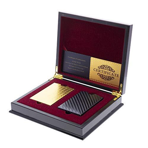 Trendcool Cartas Poker. Baraja Poker Juego de Mesa con Caja Madera Maletin. Baraja de Cartas Poker Impermeable. Baraja Poker Negras, Doradas, Oro. (Gold+Black+Box) ✅