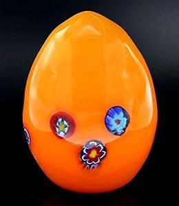 Scultura Collection Huevos Naranja Murrine Cristal de Murano Made in Italy