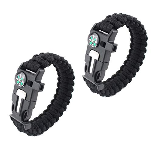 of bracelet with survival whistles HW Paracord Survival Bracelet (2 Pack) – Loud Whistle – Emergency Knife –Compass-Flint Fire Perfect for Hiking, Camping, Fishing and Hunting