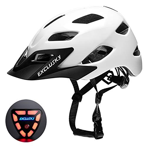 Exclusky Adult Bike Helmet with USB Rear Light, CPSC Certified Bicycle Cycling Helmets, Adjustable Lightweight Helmet for Urban Commuter Women Men, 22.05-24.01 Inches (White Glossy)