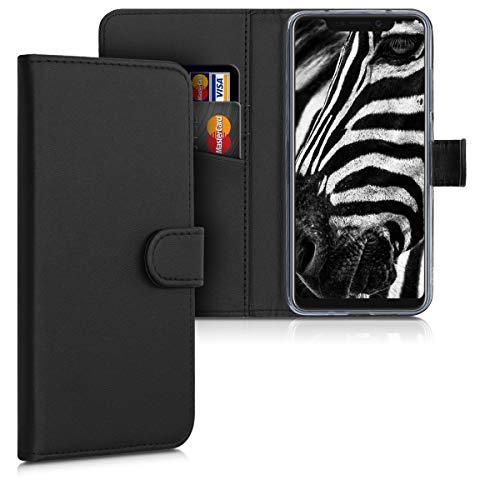 kwmobile Wallet Hülle kompatibel mit ZTE Axon 9 Pro - Hülle Kunstleder mit Kartenfächern Stand in Schwarz