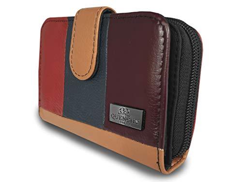 Quenchy London QL822M - Borsa a tracolla in pelle con tracolla singola, 5 scomparti, in vera pelle di mucca, Multicolore (Solo borsellino), Medium