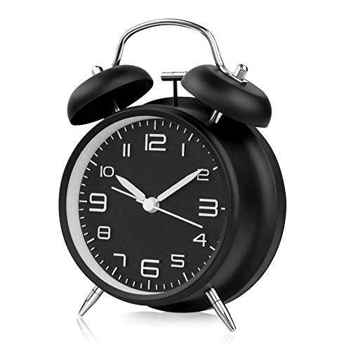 otumixx Doppelglockenwecker Analog Quarzwecker mit Nachtlicht | Lauter Alarm | Kein Ticken | Geräuschlos Retro Wecker, großes Zifferblatt von 4 Zoll - Schwarz