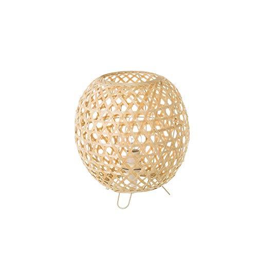 Lámpara de mesita de noche trenzada rústica de bambú beig