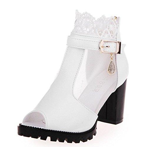 Bottines Femme,GongzhuMM Chaussures Femme Bottines Peep Toes en Dentelle Sandales à Talon Carre Femme Chaussures Transparente High Heels