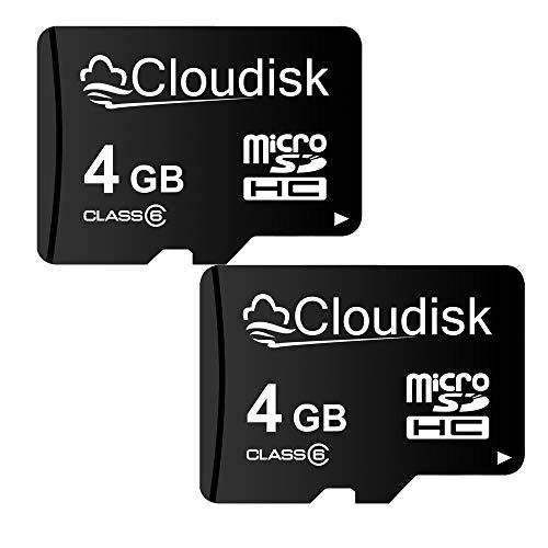 Cloudisk 2Pack Micro SD-Karte mit MicroSD-Adapter-Speicherkarte Class6 (2Pack 4GB)