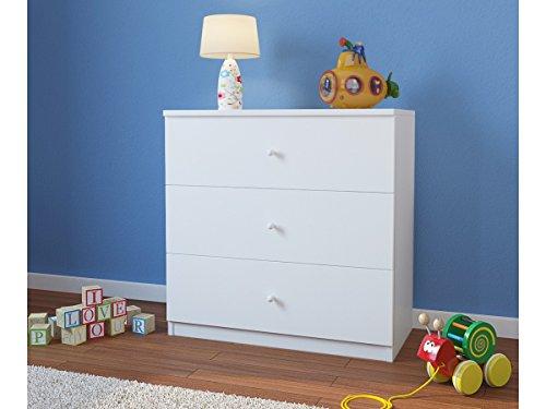 CARELLIA Commode Enfant 3 TIROIRS - Blanc