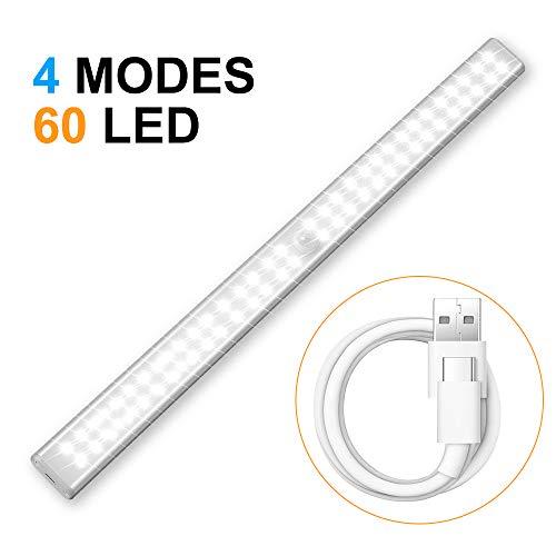 Cobiz LED Schrankbeleuchtung Mit Bewegungsmelder - Kabellos USB Wiederaufladbar 60 Led Unterschrankleuchte Küche- Upgraded 4 Modi Intelligente Led Schrankleuchte mit Bewegungsmelder | 6000k