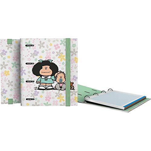 Grafoplás 88112611. Carpeta de Mafalda A5, Modelo Flores, Incluye Recambio 100 Hojas Microperforadas, Cuadrícula 5 y Borde de Color