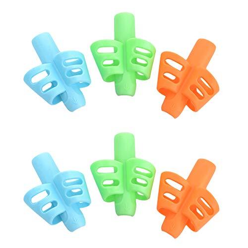 Maxgoods Lot de 6 pinces à crayons, stylo pour enfant pour l'écriture et l'écriture - Outil de correction de posture pour enfants d'âge préscolaire - Ventilation creuse