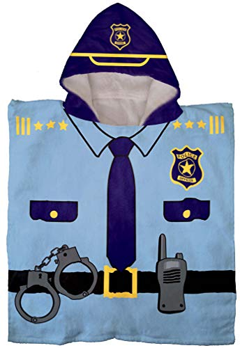 Jay Franco Trend Collector Police Officer Kids Bath/Pool/Beach Hooded Poncho Towel - Super Soft & Absorbent Cotton Towel, Measures 22 Inch x 22 Inch