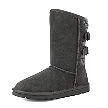 DREAM PAIRS Women s Grey Faux Fur Mid Calf Fashion Winter Snow Boots Size 9 M US Sweaty-Buckle