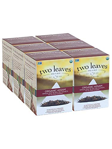 Two Leaves and a Bud Organic Assam Breakfast Tea Bags, Whole Leaf Black Tea in Sachets, 15 Count (Pack of 6)