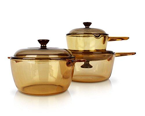 Visions Vs-337 Pot Kitchen Cookware Saucepan Heat-resistant Glass Cooking Pot Cookpot Pasta Pots 6p Set