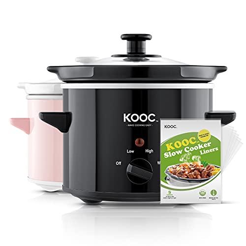 [NEW] KOOC Small Slow Cooker, 2-Quart, Free Liners...