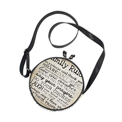 Lady Múltiples bolsillos redondos Tote Cross-Body Bandolera Reglas la familia Black Begie Vintage Style Circle Purse Handbag con correa