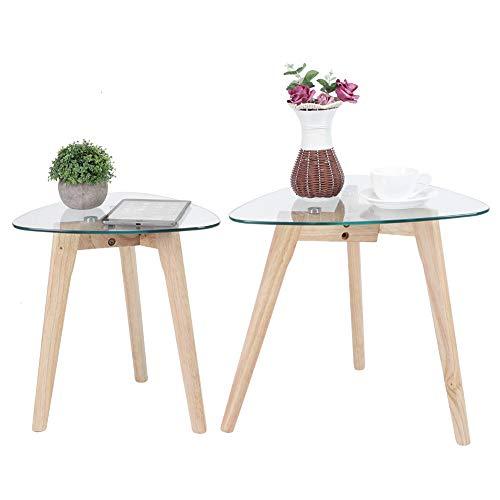 Pissente - Set di 2 tavolini moderni per divano giogne, semplice tavolo da comodino, multifunzione, in vetro, per soggiorno, caffè, ricevimento, capacità di carico 60 kg