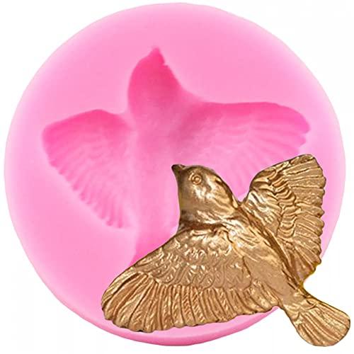 JINGYUA Molde de Fondant de Chocolate de pájaro pequeño moldes de Arcilla polimérica de Silicona 3D Herramientas de decoración de Dulces para Hornear Pasteles