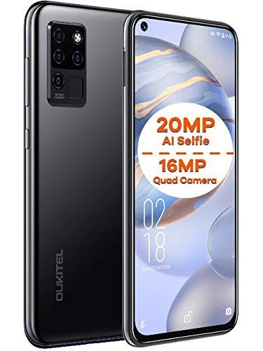 Movil Libre OUKITEL C21, Android 10 Dual SIM Telefono, 20MP AI Selfie + 16MP Cuatro Cámaras, FHD + Pantalla Completa 6.4 '', Octa-Core 4GB+64GB, Desbloqueo Facial, Huella Digital, Tipo-C GPS Negro