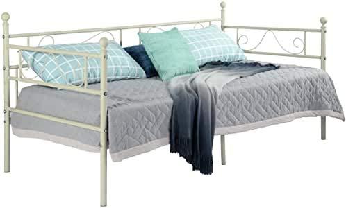 EGGREE Tagesbett Bettsofa Schlafsofa Einzelbett Metallbett Jugendbett Kinderbett Gästebett Bett Sofa 90x190cm Beige