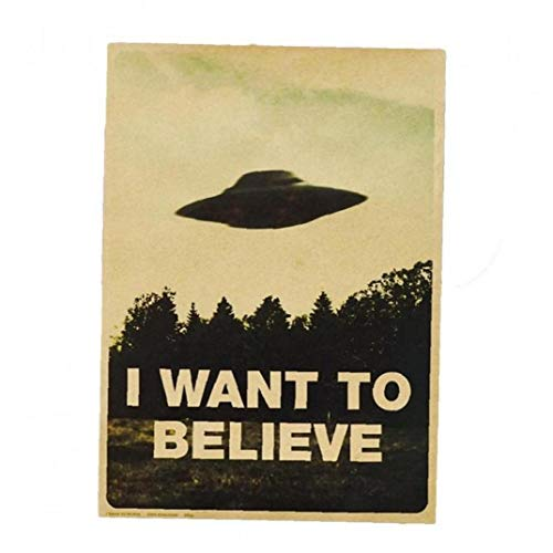 Vintage Classic I Want to Believe Poster Home Decor Wall Stickers