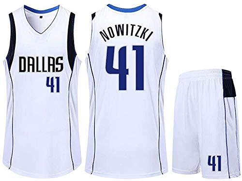 D&L Dallas Mavericks 41 Basketball-Trikot, Dirk Nowitzki Summer Sports NBA Jersey, Erwachsene und Kinder-Basketball-Uniformen, Basketball Jersey Top Einschließlich Shorts (Color : White, Size : L)